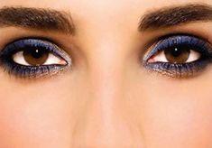 Blue eyeliner on brown eyes