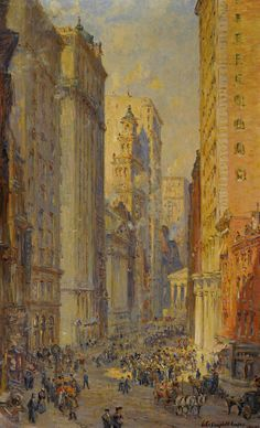 Broad Street New York By Colin Campbell Cooper 1856 1937 American Art