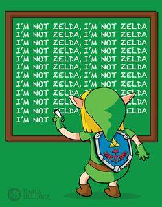 """Fan art legend of zelda - the simpsons mash up illustration / link """"I'm not zelda"""" by karla becerra"""