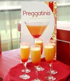 Baby shower idea. Orange juice, grenadine, sparkling cider, garnish with a cherry
