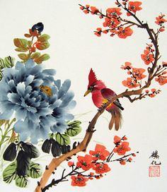 japanese flowers painting - Google Search