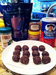 Shakeology PB2 Protein Ball Recipe -8 Tbs PB2, 3 Tbs natural peanut butter, 1/2 cup Shakeology mix, 3 Tbs raw honey, 1/2 cup quick-cooking rolled oats  Mix PB2 with water until it's a paste like consistency. Mix with all indredients until dry/crumbly texture. Roll into small balls and place on wax sheet. freeze until firm. 12 balls