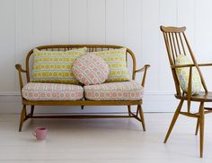 Angie Lewin - Stellar - fabric - Ercol sofa and chair Decor, Furniture, Room, Wooden Sofa, Cushions On Sofa, House Interior, Interior Design, Home And Living, Ercol Furniture