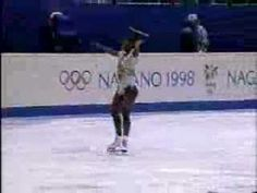 Surya Bonaly, female figure skater, 1998 Olympics.  Bonaly is famous for her backflip landed on only one blade; she is considered the only skater in the world capable of this move.