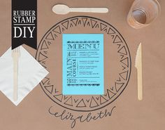 DIY Tutorial: Rubber Stamp Dinner Party Placemat by Antiquaria via Oh So Beautiful Paper