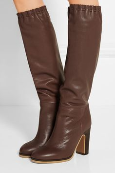 307de46a17de See by Chloe scalloped knee brown boots