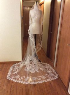 Embroidered full perimeter Cathedral Veil by TimelessWeddingsShop