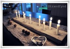 if you have a long table space, you could use this for tons of holidays Driftwood Chandelier, Driftwood Art, Arts And Crafts House, Arts And Crafts Supplies, Light Decorations, Christmas Decorations, Candle Lamp, Weekend Projects, Christmas Inspiration
