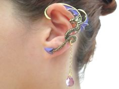 Dragon ear cuff with purple wings and purple tear drop chain