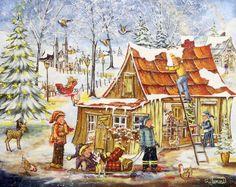 Christine Genest Christmas Scenes, Christmas Art, Folk, Art Story, Snow Scenes, Dream Art, All Nature, Country Art, Small Paintings
