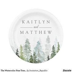 The Watercolor Pine Tree Forest Wedding Collection Paper Plate Forest Wedding, Rustic Wedding, Trendy Wedding, Wedding Ideas, Wedding Rsvp, Wedding Bells, Wedding Decor, Wedding Planning, Wedding Invitations