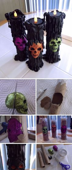 DIY Cheap and Easy Candles Made Out Of Paper Towels. – Jessica Hülsmann DIY Cheap and Easy Candles Made Out Of Paper Towels. DIY Cheap and Easy Candles Made Out Of Paper Towels. Source by sasibella… Spooky Halloween, Décoration Table Halloween, Halloween Juice, Halloween Table Decorations, Theme Halloween, Spooky Decor, Spirit Halloween, Holidays Halloween, Halloween Treats