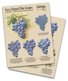 This is a step-by-step worksheet to learn how to paint Blue Grapes. Grape Painting, Fruit Painting, China Painting, Vides, Green Grapes, Learn To Paint, Painting Techniques, Art Lessons, Mosaics
