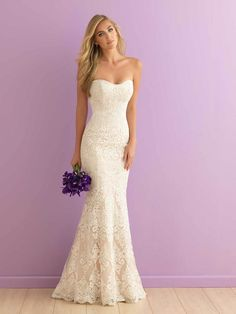 Allure Bridals 'Strapless Lace' size 4 new wedding dress front view on model