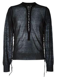 BALMAIN Lace-Up Sweater. #balmain #cloth #flats