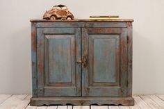 Reserved for Hillary SALE Antique  Industrial Wood Metal Chippy Blue Sideboard Media Console on Etsy, $399.00