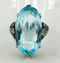 Art Deco Jewelry: German Sterling and Faux Blue Topaz Vintage Statement Ring sz. 6
