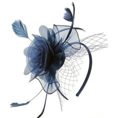 Navy Flower Fascinator ($12) ❤ liked on Polyvore featuring accessories, hair accessories, navy blue fascinator, fascinator hat, navy blue hair accessories, feather hair accessories and flower fascinator