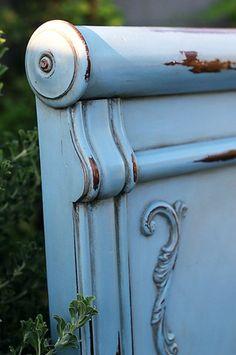 king antiqued blue headboard