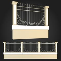Fence 001 by ThemeREX High quality polygonal model of fence.max Max 2010 for separate models .max Max 2010 for the scene, wh House Fence Design, Modern Fence Design, Front Gate Design, Door Design, House 3d Model, Stone Wall Design, Iron Garden Gates, Compound Wall, Boundary Walls