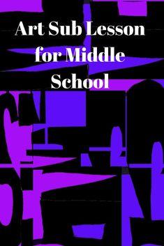Middle School Art Sub Idea - Abstract Name Designs Middle School Art Projects, Middle School Writing, High School Art, Art Sub Plans, Art Lesson Plans, Art Lessons For Kids, School Lessons, Seventh Grade, Ninth Grade