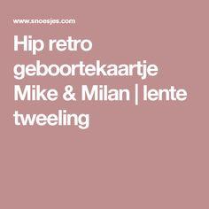 Hip retro geboortekaartje Mike & Milan | lente tweeling