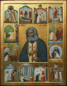 Seraphim of Sarov, icon Byzantine Icons, Byzantine Art, Religious Icons, Religious Art, Paint Icon, Russian Icons, Orthodox Icons, Classical Art, Christian Art