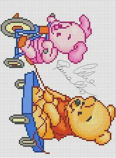 Winnie the Pooh and Piglet cross stitch.