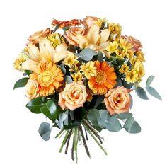 Ramo QDF de flores variadas naranjas, un trocito de jardín hecho ramo de flores. #oferta #regalaflores