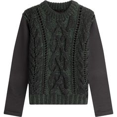 Karl Lagerfeld Wool Pullover (295,310 KRW) ❤ liked on Polyvore featuring tops, sweaters, green, wool sweater, slim fit sweater, karl lagerfeld, pullover sweater and green sweater