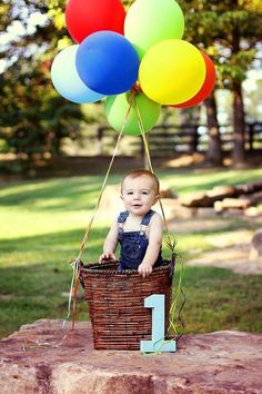 Hot air balloon for 1st boy birthday photo. See more first boy birthday decorations and party ideas at one-stop-party-ideas.com: