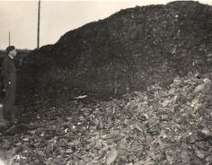 Bergen Belsen, Germany, A pile of shoes, after the liberation.
