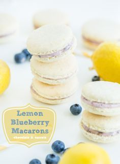 Lemon Blueberry Macarons | chocolateandcarrots.com (makes 15): For the macarons- •1 1/2 cups almond flour/meal •1 1/4 cups powdered sugar •1 tablespoon lemon zest •3 egg whites •1/2 teaspoon vanilla extract •1/4 cup granulated sugar || For the filling-  •1/4 cup reduced fat cream cheese, softened •1 tablespoon butter, room temperature •1 teaspoon agave nectar •1 cup powdered sugar •1 teaspoon lemon zest •2 tablespoons blueberries, fresh or frozen (and thawed), mashed with a fork