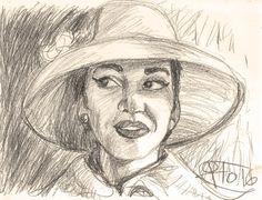 María Callas, lápiz de cera sobre papel
