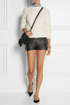 Current/Elliott leather shorts, with denim shirt, sweater, PS bag & black flats