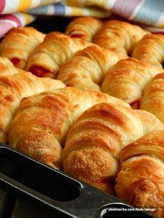 Kiflice Recipe, Posna Predjela, Dessert Recipes, Desserts, Hot Dog Buns, Sausage, Food And Drink, Cooking Recipes, Cake