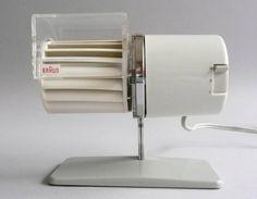 Braun HL 1 Multiwind Reinhold Weiss, 1961, a quirky desktop fan design.