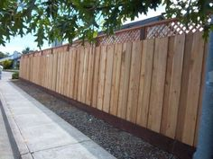 Solid fence with kickboard and lattice