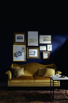 Bernhardt Interiors Living Room Navy walls gold sofa and gallery frames Living Room Decor Dark Brown Couch, Navy Living Rooms, Living Room Sofa, Living Room Interior, Dark Couch, Classic Furniture, Fine Furniture, Furniture Design, Traditional Furniture