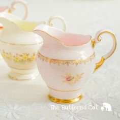 Exquisite soft pink milk jug with pink and gold by TheButteredCat