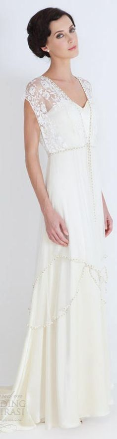 Catherine Deane bridal 2012 - Lita leticia wedding dresses illusion necklines. Riminds me of the dresses from Downton Abbey!