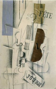 """""""Violín y periódico"""" Georges Braque (1912) Periodo: Cubismo sintético. Género: Bodegón."""
