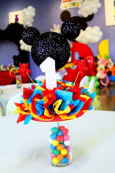 Mickey Mouse Club House Party Centerpieces made by Me :)