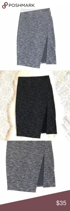 ROMEO + JULIET Asymmetrical Pencil Skirt Dark Gray In excellent preowned condition! Pencil skirt featuring asymmetric slit on one side. Zip back closure. Romeo & Juliet Couture Skirts Pencil
