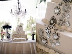 Beautiful vintage-inspired wedding cake! Love the gems and crystals.