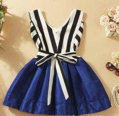 A 090537 v-neck striped tutu dress stitching - Thumbnail 4 Kids Summer Dresses, Stylish Dresses For Girls, Frocks For Girls, Kids Outfits Girls, Cute Outfits For Kids, Little Girl Dresses, Girl Outfits, Cute Kids Fashion, Girls Fashion Clothes