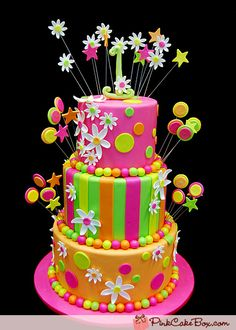 Wow!  Colorful 3 tiered cake for girl's birthday, fun, bright summer colors