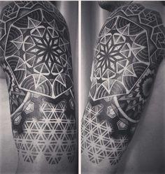 geometric dotwork sleeve tattoo by yury polyakov www. Black Bedroom Furniture Sets. Home Design Ideas