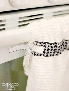 How To Make A Simple Hanging Dish Towel - One Good Thing by JilleePinterestFacebookPinterestFacebookPrintFriendly