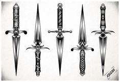 Traditional Dagger Tattoo, Traditional Black Tattoo, Knife Tattoo, Sword Tattoo, Tattoo Sketches, Tattoo Drawings, Sketch Drawing, Drawing Art, Chicano Tattoos Sleeve